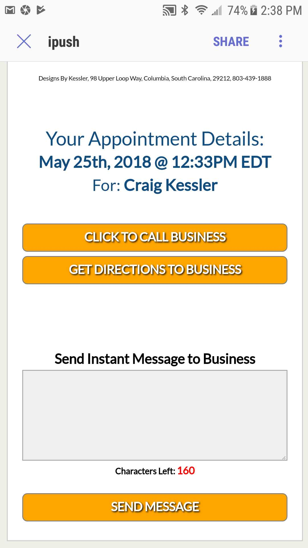 Appointment Reminder Detail Screen